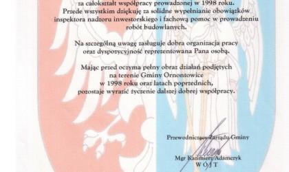 Podziękowanie od Gminy Ornontowice (rok 1998)