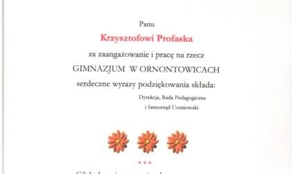 Podziękowanie od Gimnazjum w Ornontowicach (rok 2004)