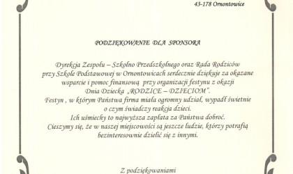 Podziękowanie od Szkoły Podstawowej im. K. Miarki z Ornontowic