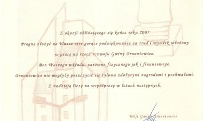 Podziękowanie od Wójta Gminy Ornontowice (rok 2007)