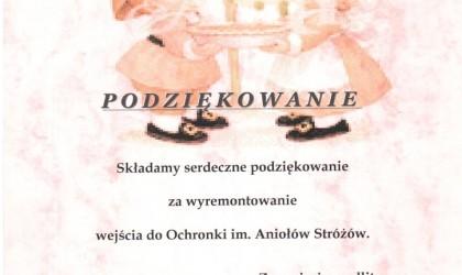 Podziękowanie od Sióstr Służebniczek NMP (rok 2008)