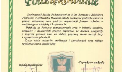 Dyplom od Szkoły Podstawowej nr 8 im. Romana i Zdzisława Pietrasów w Dębieńsku Wielkim (rok 2008)