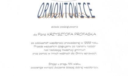 Podziękowanie od Gminy Ornontowice (rok 1999)