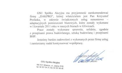 Referencje od firmy GSU (rok 2013)