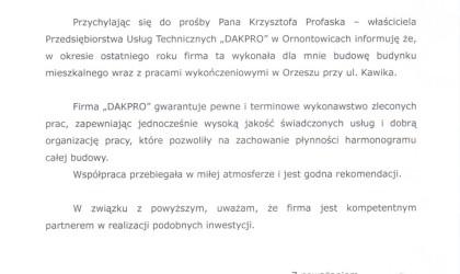 Referencje od klienta indywidualnego (rok 2013)