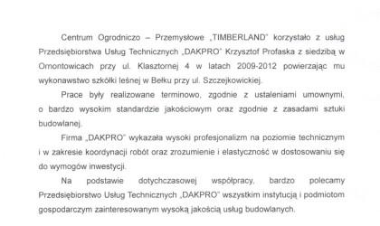 """List referencyjny od Centrum Ogrodniczo – Przemysłowego """"Timberland"""" (rok 2013)"""