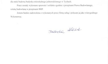List referencyjny od klienta indywidualnego (rok 2012)