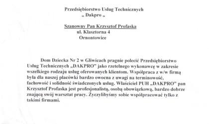 Referencje od Domu Dziecka nr 2 w Gliwicach (rok 2003)