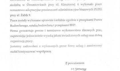 Referencje od Zakładu Gospodarki Zasobami Gminy w Ornontowicach (rok 2003)
