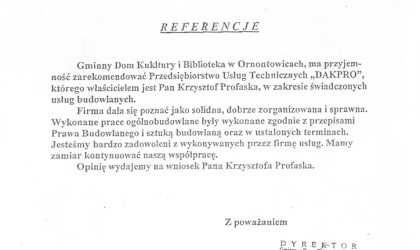 Referencje od Gminnego Domu Kultury i Biblioteki w Ornontowicach