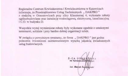 List referencyjny od Regionalnego Centrum Krwiodawstwa i Krwiolecznictwa w Katowicach (rok 2003)
