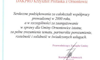 Podziękowanie od Gminy Ornontowice (rok 2000)