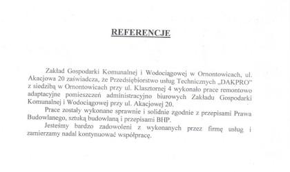 Referencje od Zakładu Gospodarki Komunalnej i Wodociągowej w Ornontowicach (rok 2001)