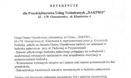 Referencje od Urzędu Gminy Gierałtowice (rok 2001)