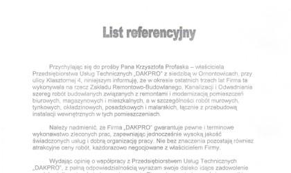 List referencyjny od Zakładu Remontowo – Budowlanego, Kanalizacji i Odwadniania (rok 2001)