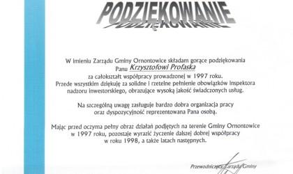Podziękowanie od Gminy Ornontowice (rok 1997)