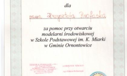 Dyplom od Szkoły Podstawowej im. K. Miarki z Ornontowic (rok 2001)