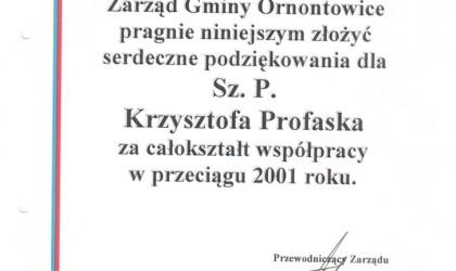 Podziękowanie od Gminy Ornontowice (rok 2001)