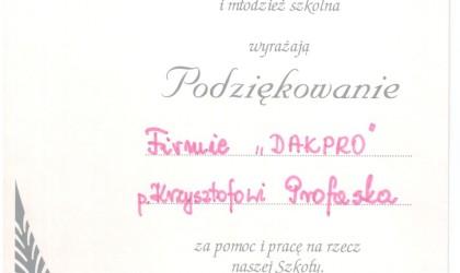 Dyplom od Szkoły Podstawowej im. K. Miarki z Ornontowic (rok 2002)
