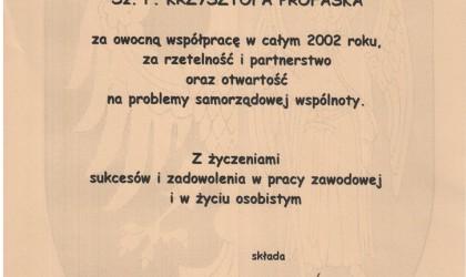 Podziękowanie od Gminy Ornontowice (rok 2002)