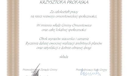Drugie podziękowanie od Gminy Ornontowice (rok 2002)