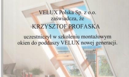Dyplom od firmy Velux (rok 2003)