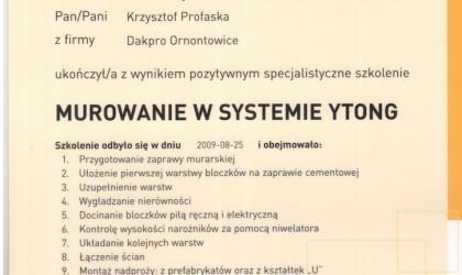 """Certyfikat ukończenia szkolenia """"Murowanie w systemie Ytong"""" (rok 2009)"""