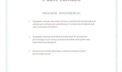 """Certyfikat udziału w konferencji """"Zabezpieczenia wodochronne budynków"""" (rok 2011)"""
