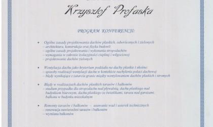 """Certyfikat udziału w konferencji """"Dachy płaskie, tarasy, balkony – zasady projektowania, remontów i konserwacji"""" (rok 2007)"""