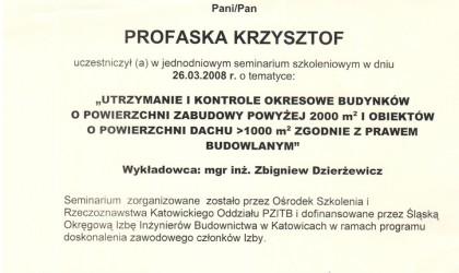 """Zaświadczenie uczestnictwa w seminarium """"Utrzymanie i kontrole okresowe budynków"""" (rok 2008)"""
