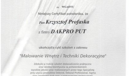 """Certyfikat ukończenia szkoleń z zakresu """"Malowanie wnętrz i techniki dekoracyjne"""" (rok 2009)"""