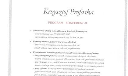 """Certyfikat uczestnictwa w konferencji """"Nowa norma budowlana"""" (rok 2009)"""