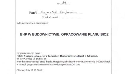 """Zaświadczenie uczestnictwa w seminarium """"BHP w budownictwie. Opracowanie planu BIOZ"""" (rok 2009)"""
