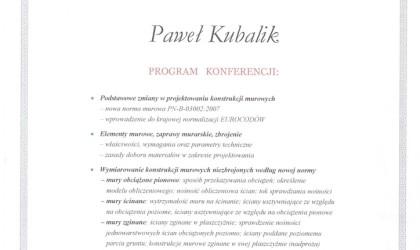 """Certyfikat udziału w Konferencji """"Nowa Norma Murowa"""" (rok 2009)"""