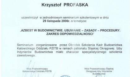 """Zaświadczenie ukończenia szkolenia """"Azbest w budownictwie. Usuwanie, zasaday, procedury"""" (rok 2006)"""