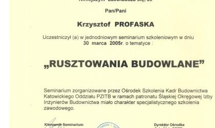 "Certyfikat uczestnictwa w seminarium ""Rusztowania budowlane"" (rok 2005)"